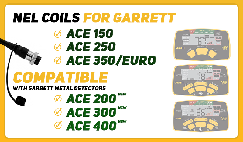 NEL coils for Garrett metal detectors NEW Ace series